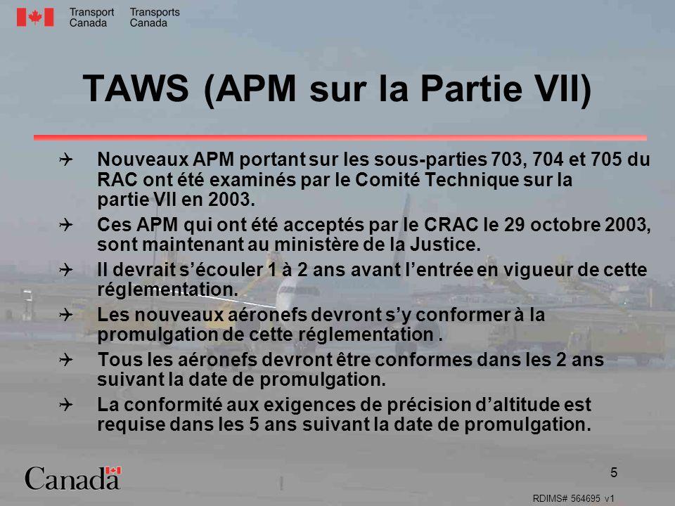 TAWS (APM sur la Partie VII)