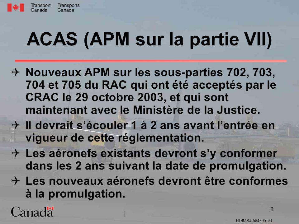 ACAS (APM sur la partie VII)