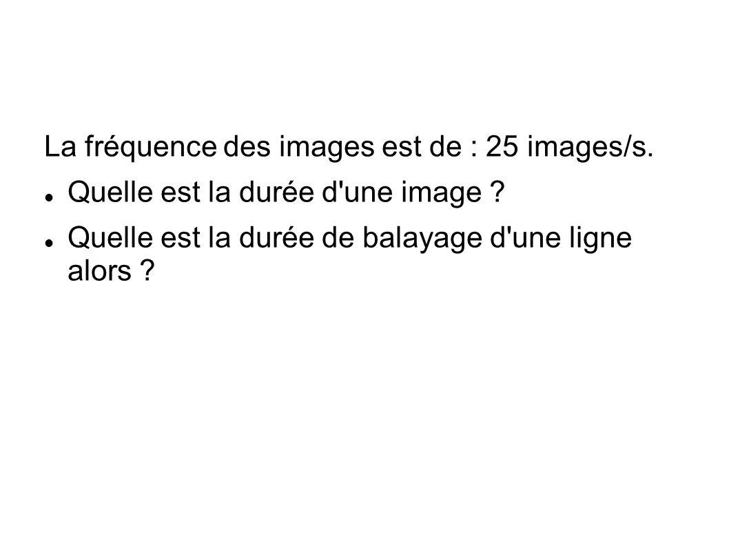 La fréquence des images est de : 25 images/s.