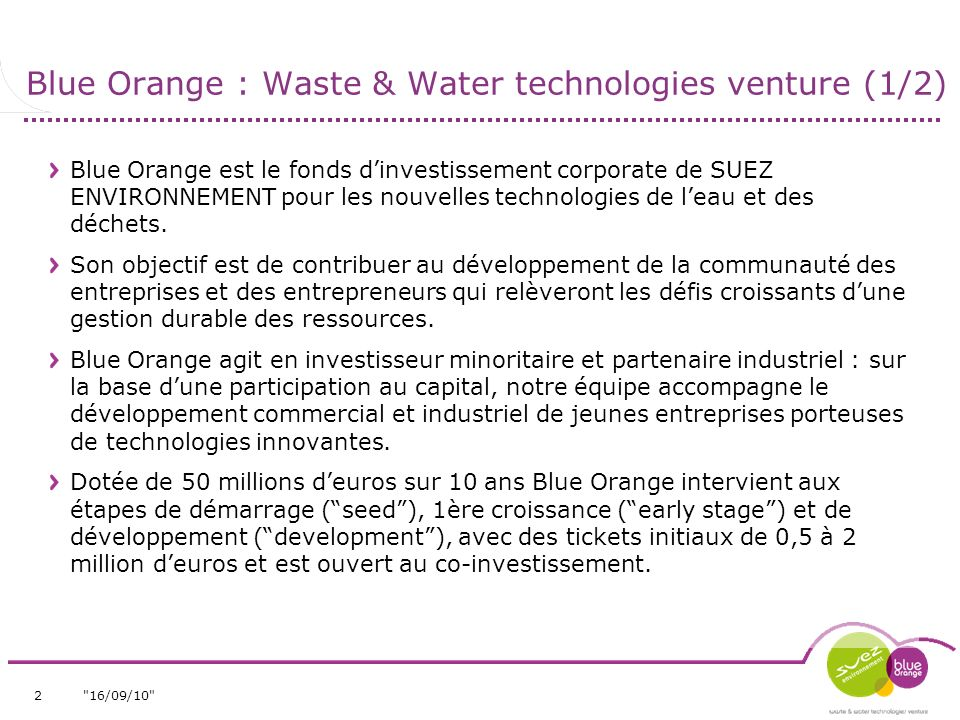 Blue Orange : Waste & Water technologies venture (1/2)