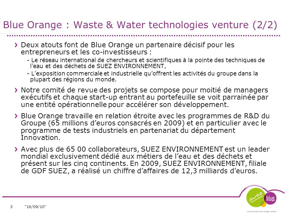Blue Orange : Waste & Water technologies venture (2/2)