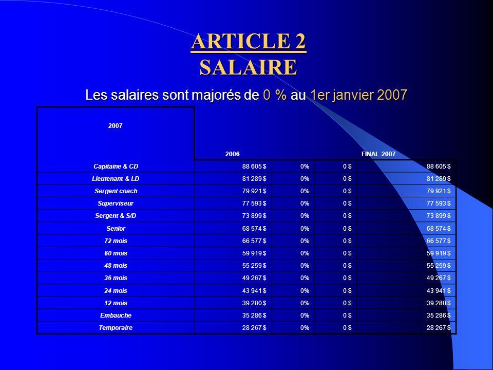 Les salaires sont majorés de 0 % au 1er janvier 2007