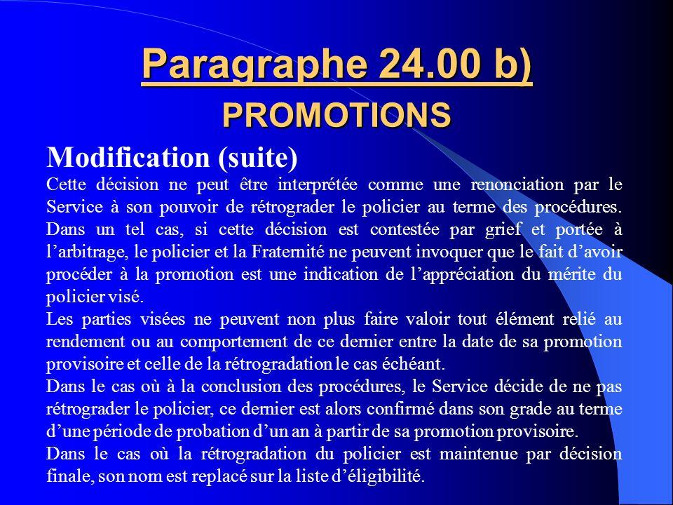 Paragraphe 24.00 b) PROMOTIONS