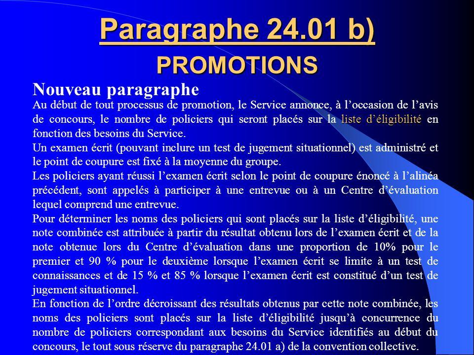 Paragraphe 24.01 b) PROMOTIONS