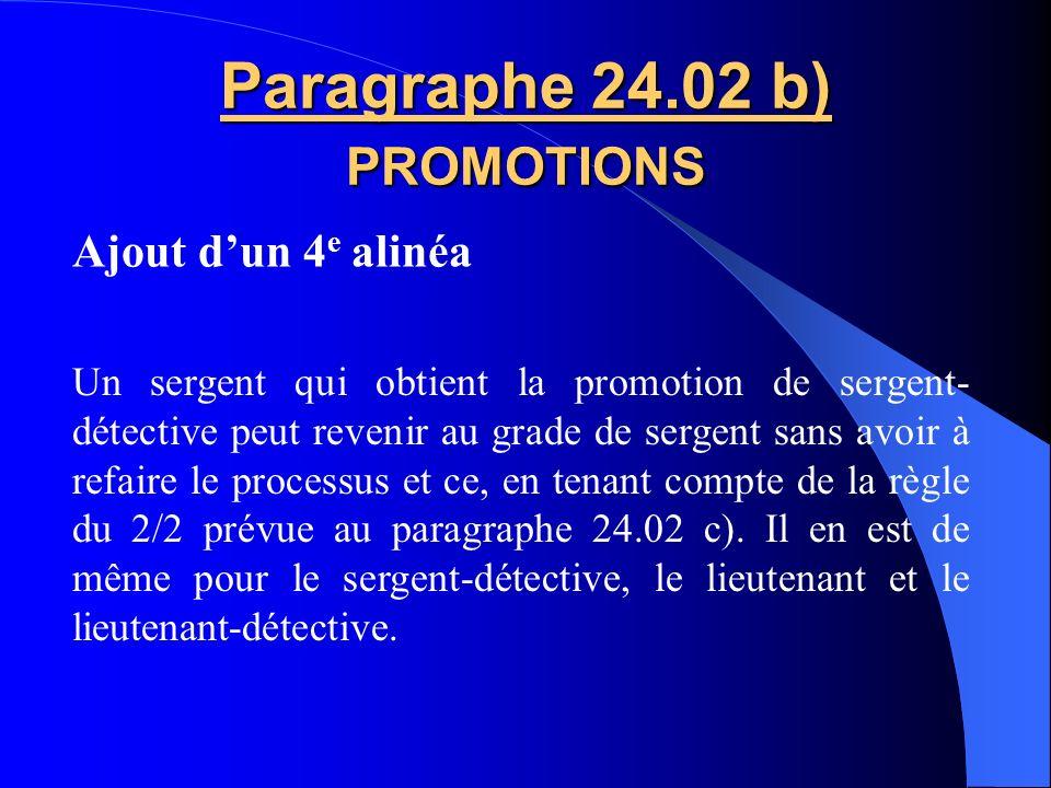 Paragraphe 24.02 b) PROMOTIONS