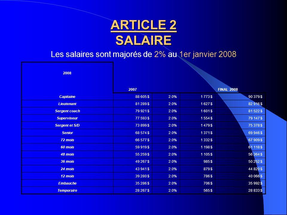 Les salaires sont majorés de 2% au 1er janvier 2008