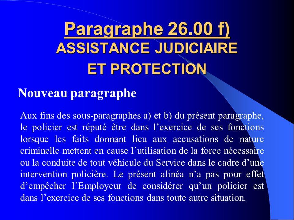 Paragraphe 26.00 f) ASSISTANCE JUDICIAIRE ET PROTECTION