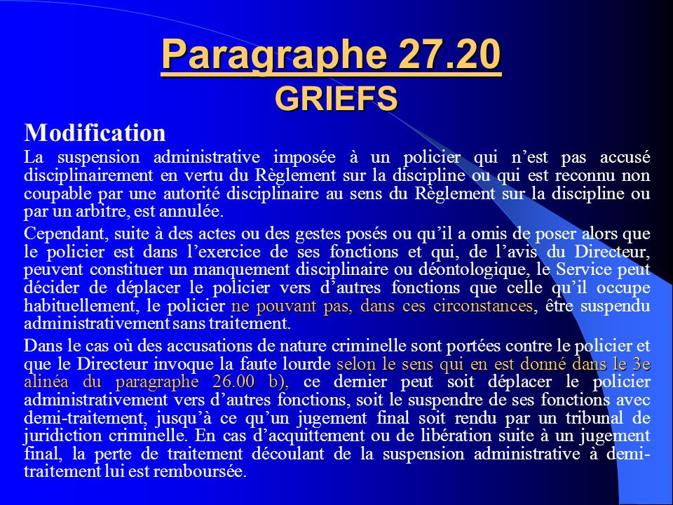 Paragraphe 27.20 GRIEFS Modification