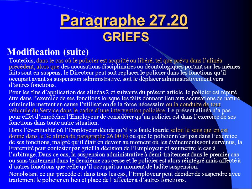 Paragraphe 27.20 GRIEFS Modification (suite)
