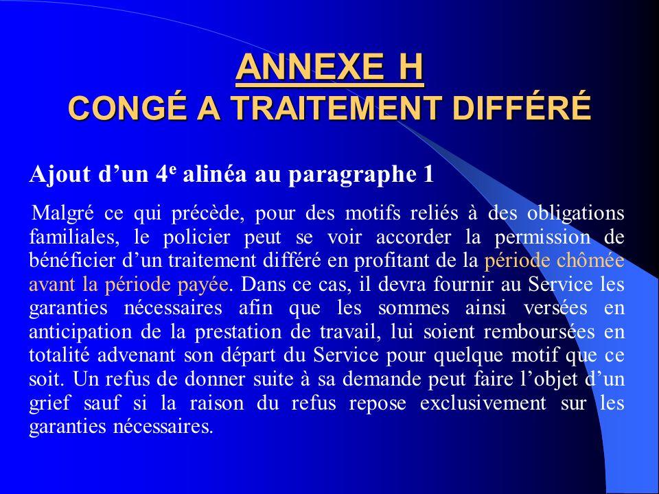 ANNEXE H CONGÉ A TRAITEMENT DIFFÉRÉ