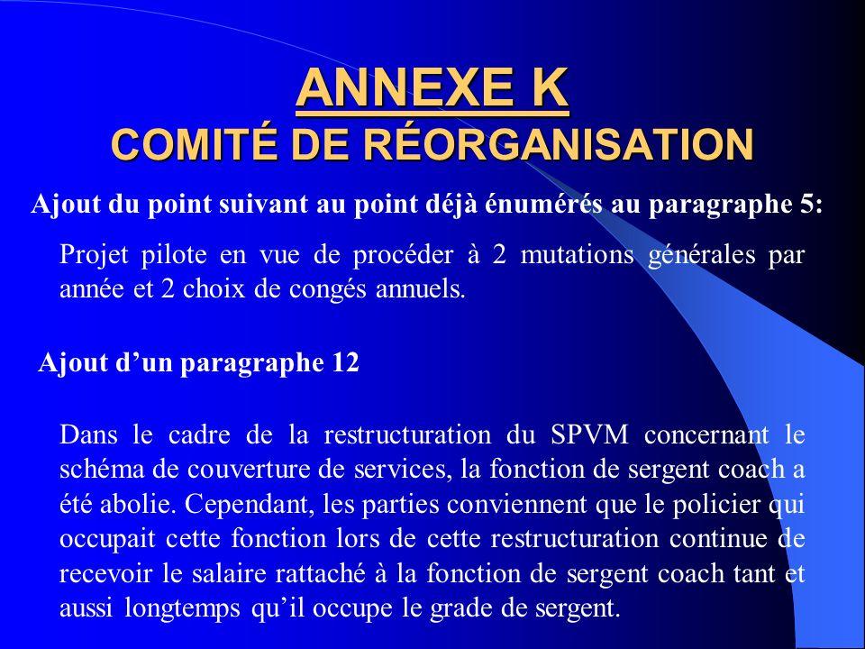 ANNEXE K COMITÉ DE RÉORGANISATION