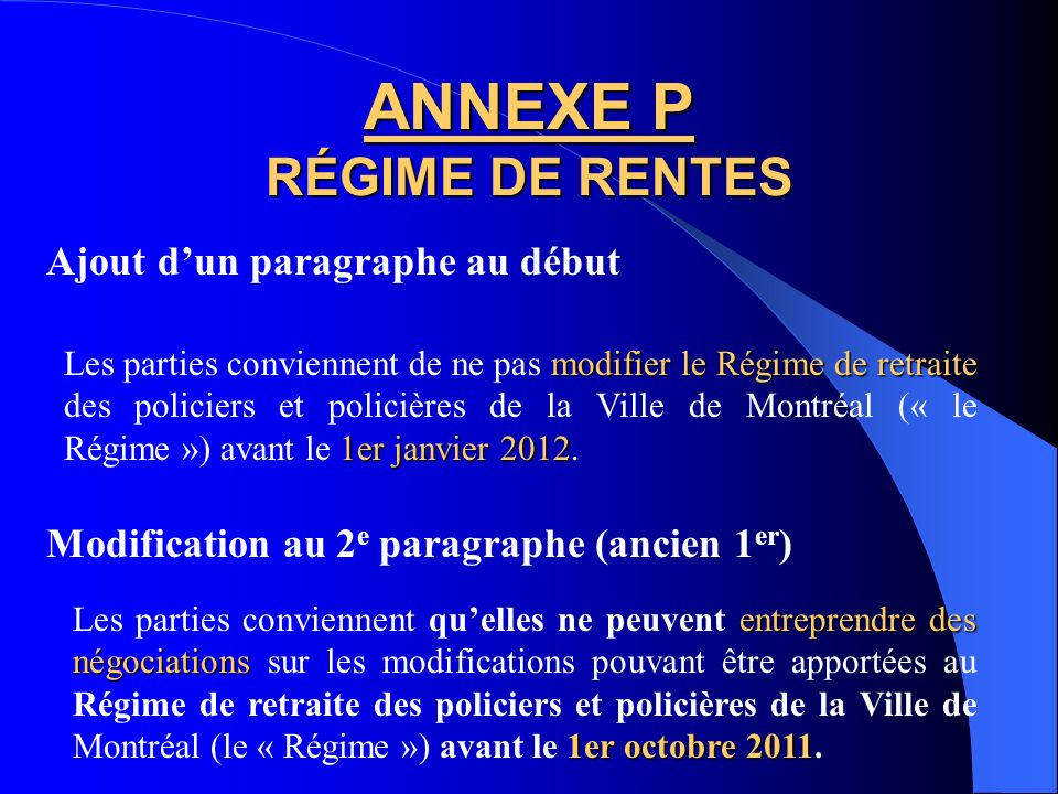 ANNEXE P RÉGIME DE RENTES