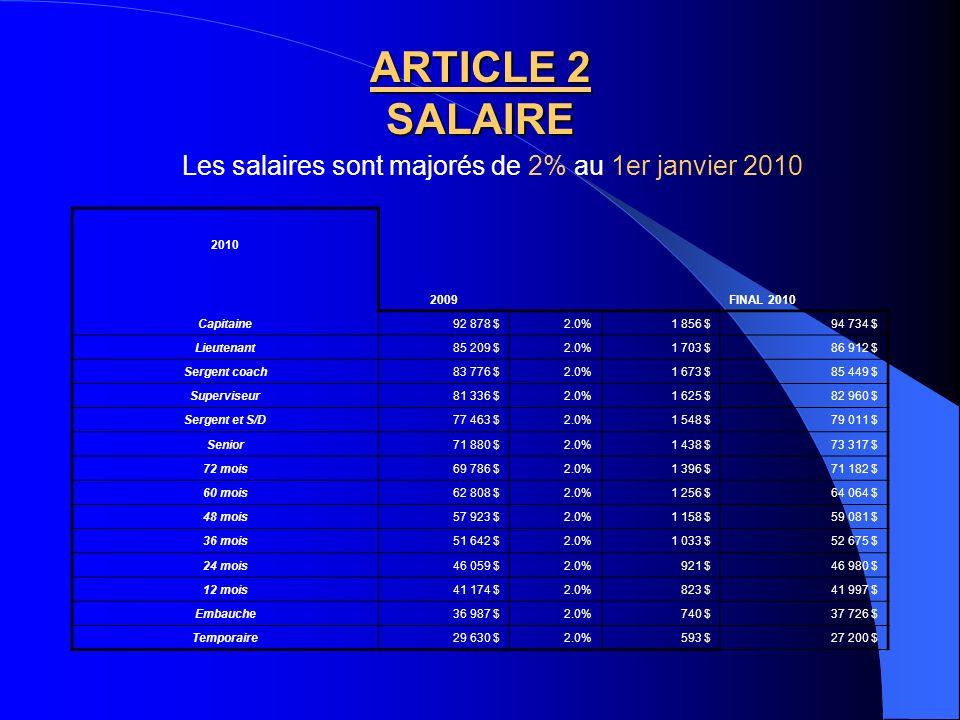 Les salaires sont majorés de 2% au 1er janvier 2010