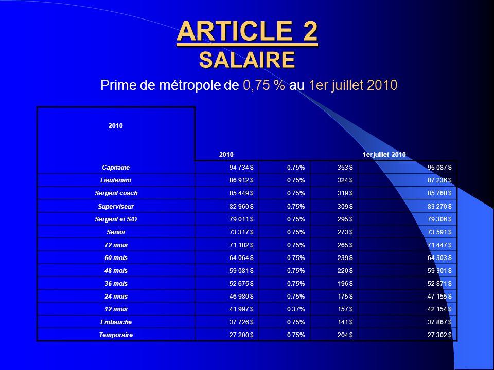 Prime de métropole de 0,75 % au 1er juillet 2010