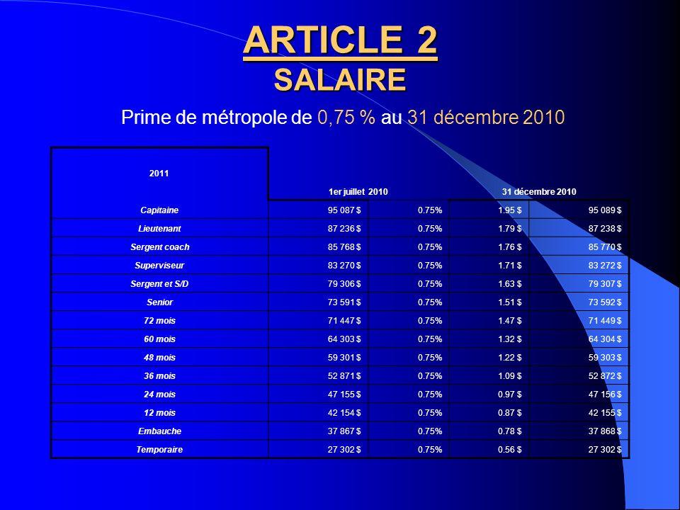 Prime de métropole de 0,75 % au 31 décembre 2010
