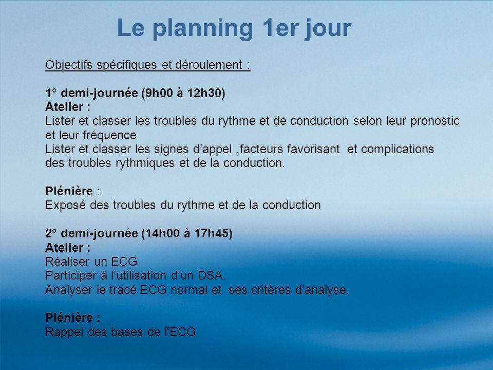 Le planning 1er jour Objectifs spécifiques et déroulement :