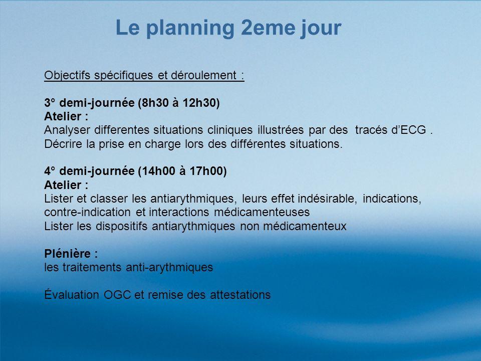 Le planning 2eme jour Objectifs spécifiques et déroulement :