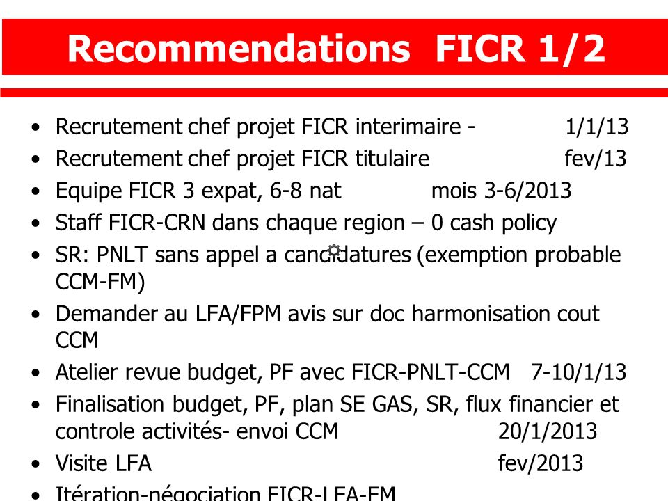 Recommendations FICR 1/2