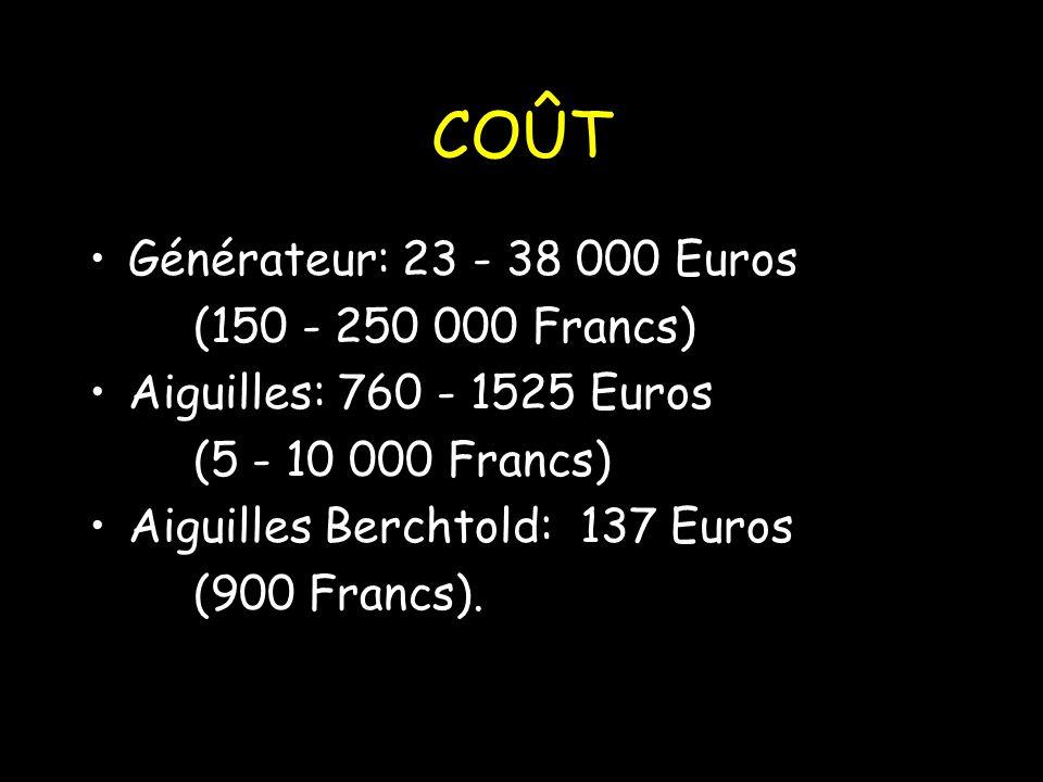 COÛT Générateur: 23 - 38 000 Euros (150 - 250 000 Francs)