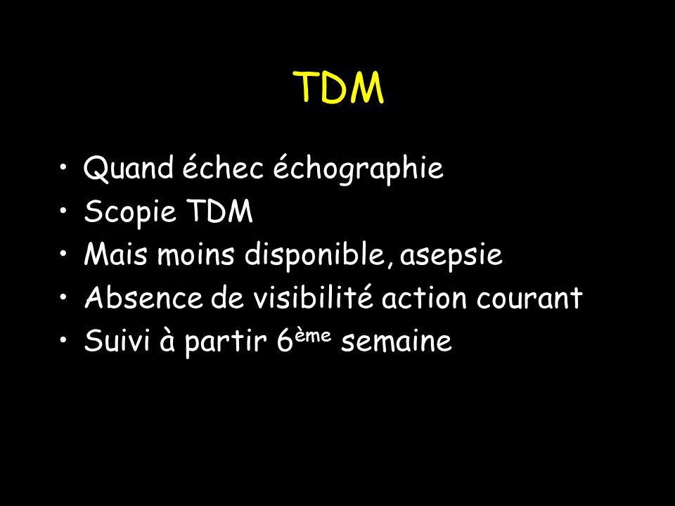 TDM Quand échec échographie Scopie TDM Mais moins disponible, asepsie