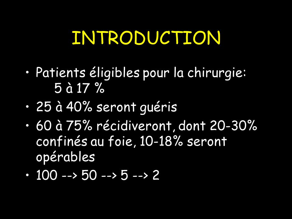 INTRODUCTION Patients éligibles pour la chirurgie: 5 à 17 %
