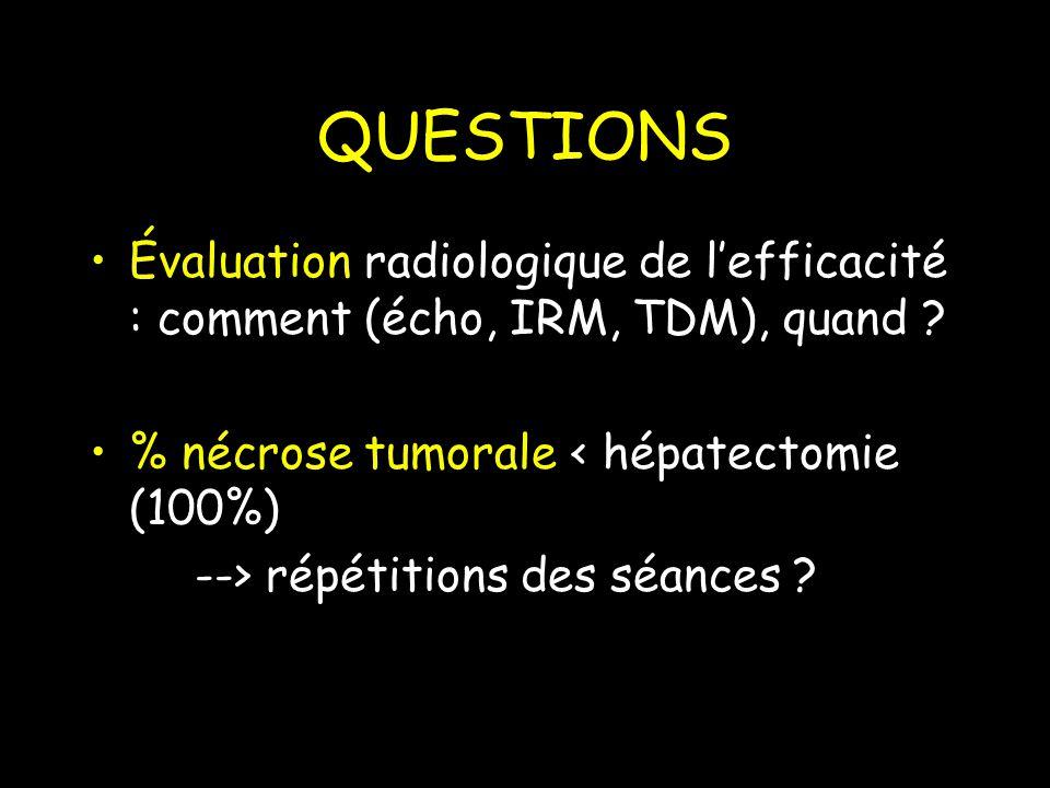 QUESTIONS Évaluation radiologique de l'efficacité : comment (écho, IRM, TDM), quand % nécrose tumorale < hépatectomie (100%)
