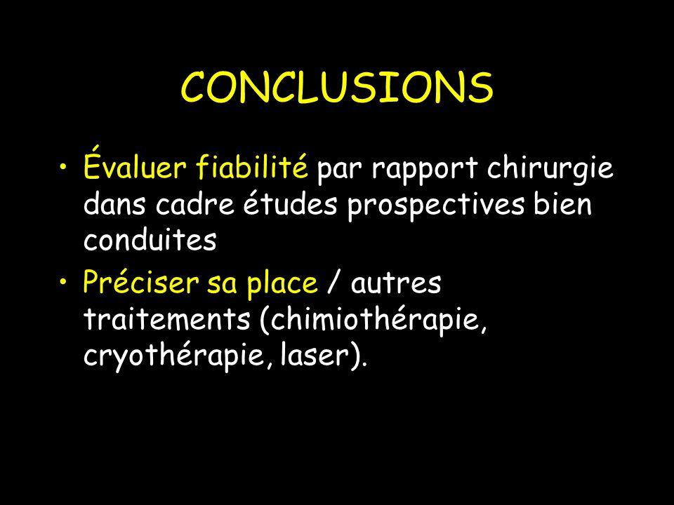 CONCLUSIONS Évaluer fiabilité par rapport chirurgie dans cadre études prospectives bien conduites.