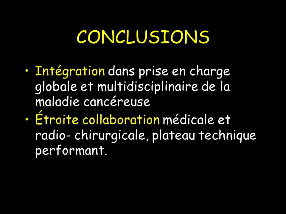 CONCLUSIONS Intégration dans prise en charge globale et multidisciplinaire de la maladie cancéreuse.