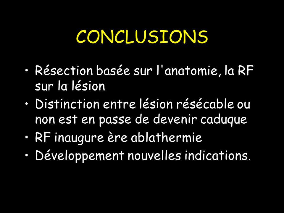 CONCLUSIONS Résection basée sur l anatomie, la RF sur la lésion