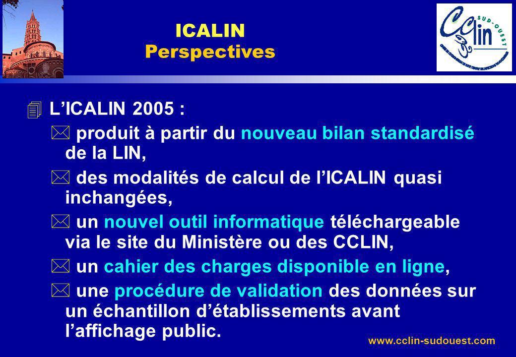 ICALIN Perspectives L'ICALIN 2005 : produit à partir du nouveau bilan standardisé de la LIN, des modalités de calcul de l'ICALIN quasi inchangées,