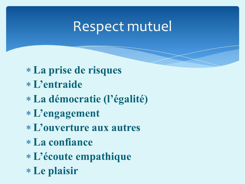 Respect mutuel La prise de risques L'entraide