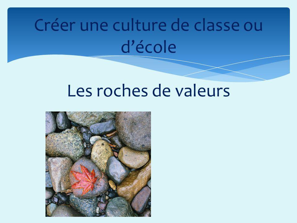 Créer une culture de classe ou d'école Les roches de valeurs