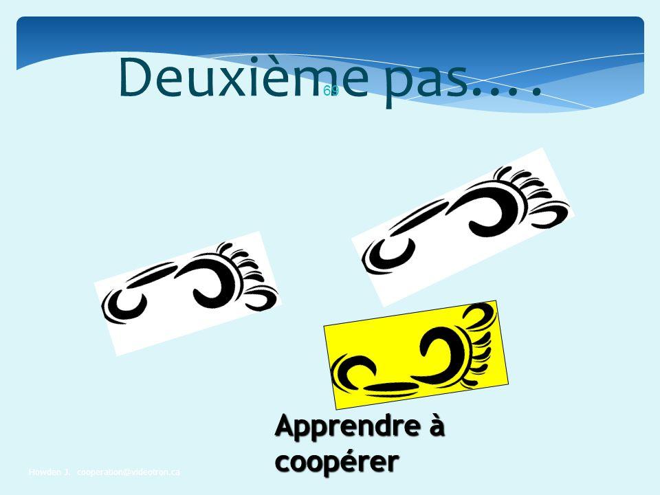 Deuxième pas…. Apprendre à coopérer Howden J. cooperation@videotron.ca