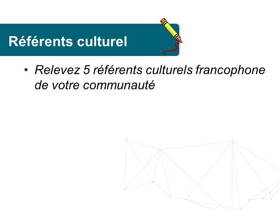 Référents culturel Relevez 5 référents culturels francophone de votre communauté. Remue-méninges. Écrire sur grande feuille.