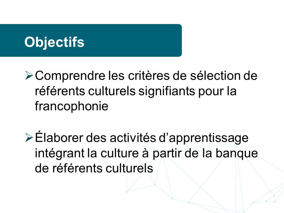 Objectifs Comprendre les critères de sélection de référents culturels signifiants pour la francophonie.