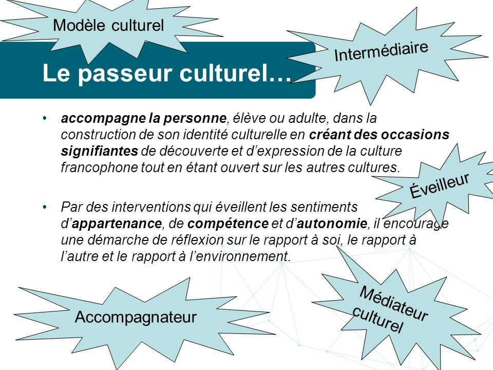 Le passeur culturel… Modèle culturel Intermédiaire Éveilleur