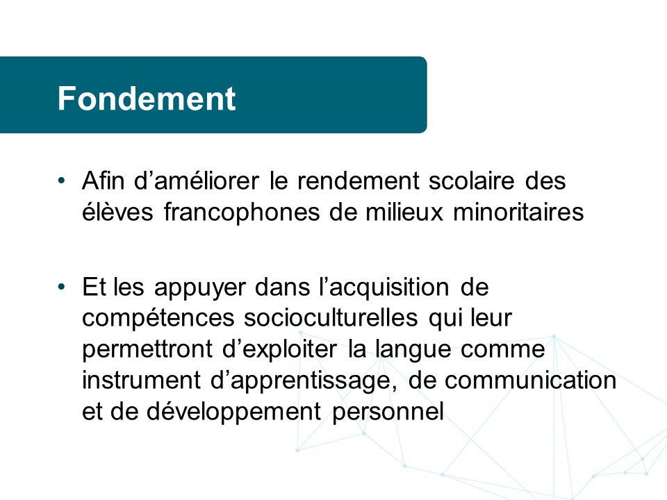 Fondement Afin d'améliorer le rendement scolaire des élèves francophones de milieux minoritaires.
