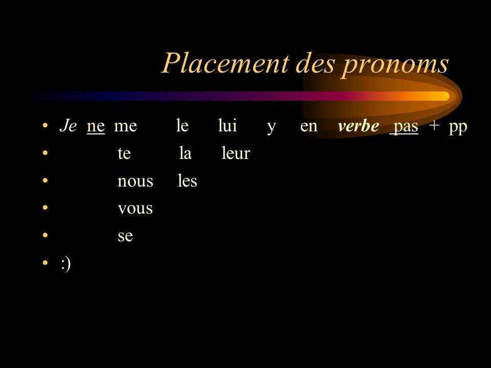 Placement des pronoms Je ne me le lui y en verbe pas + pp te la leur