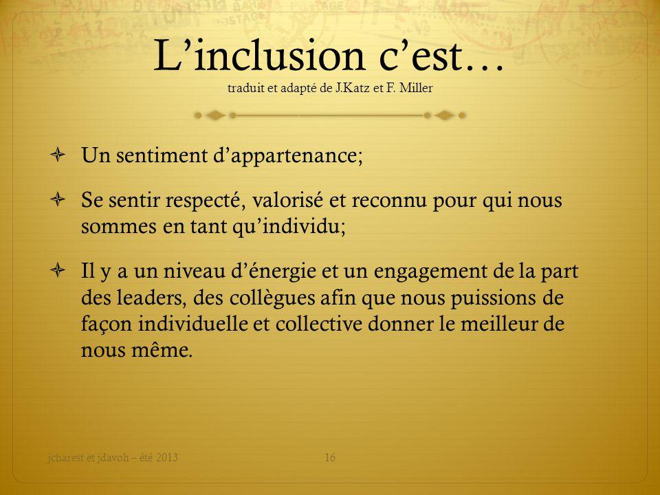 L'inclusion c'est… traduit et adapté de J.Katz et F. Miller