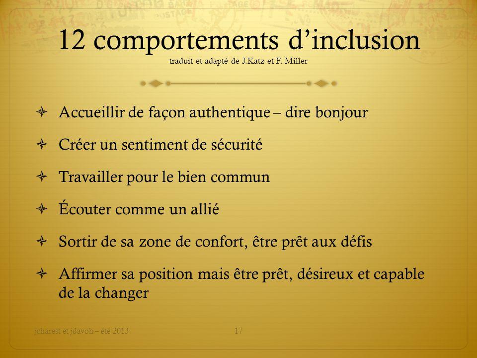 12 comportements d'inclusion traduit et adapté de J.Katz et F. Miller