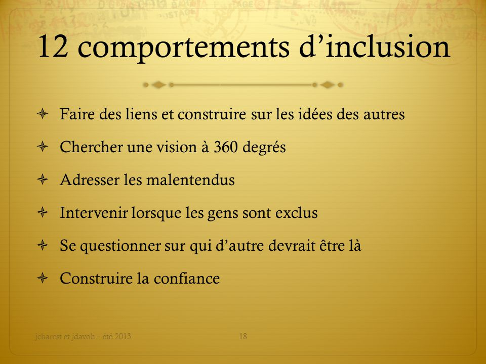 12 comportements d'inclusion