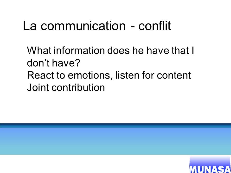 La communication - conflit