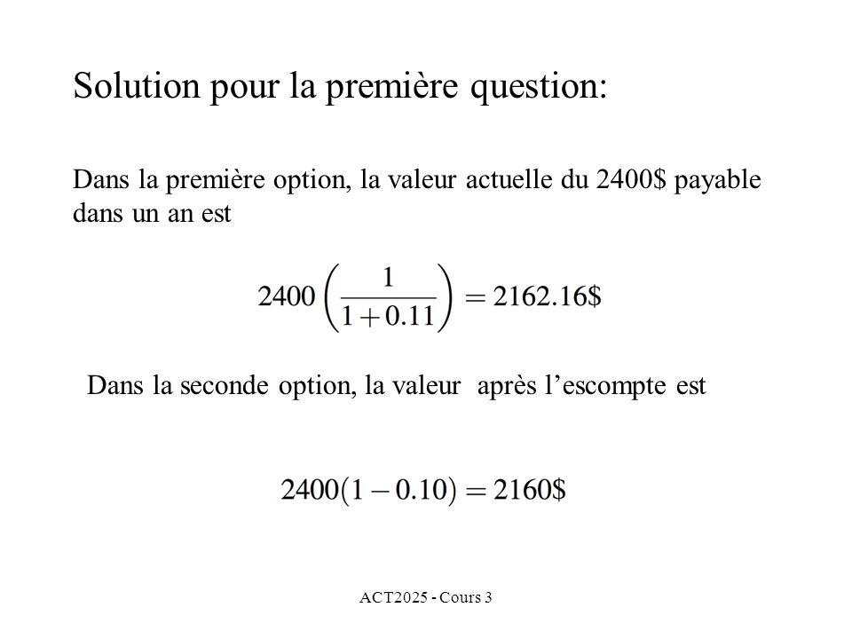 Solution pour la première question: