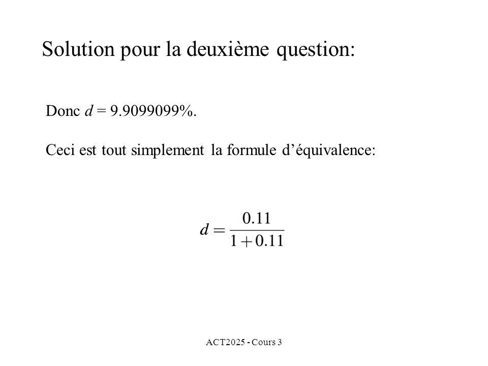 Solution pour la deuxième question: