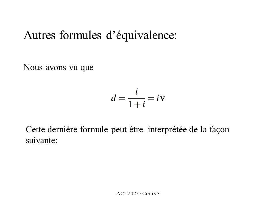 Autres formules d'équivalence: