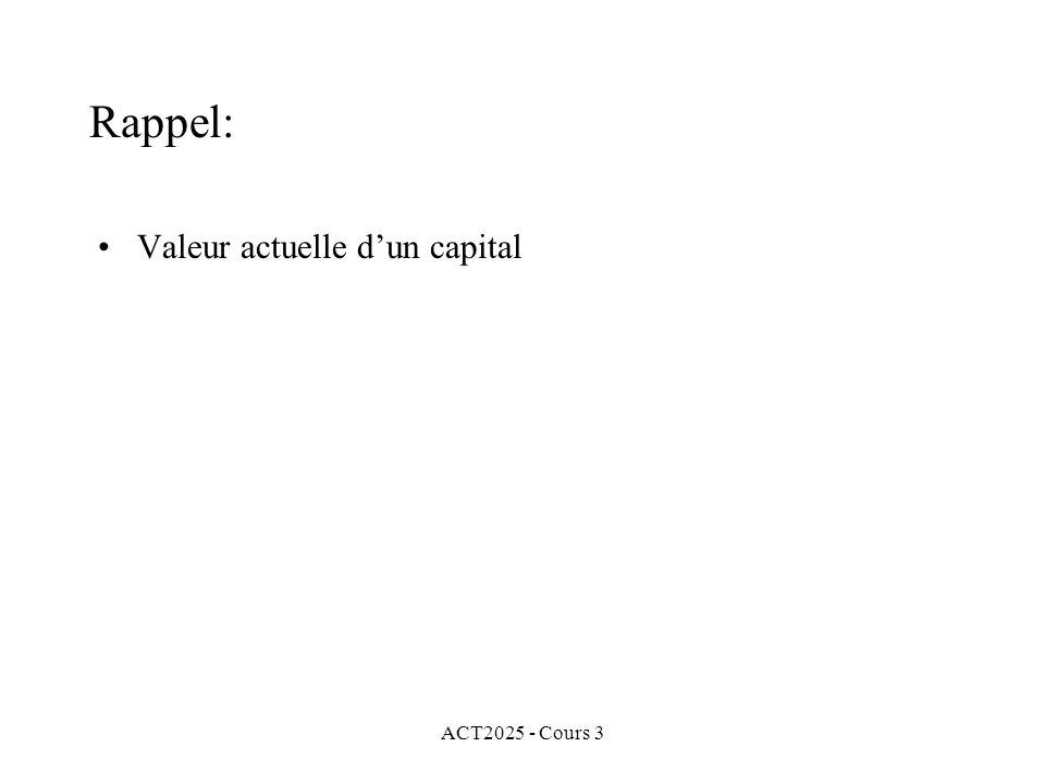 Rappel: Valeur actuelle d'un capital ACT2025 - Cours 3