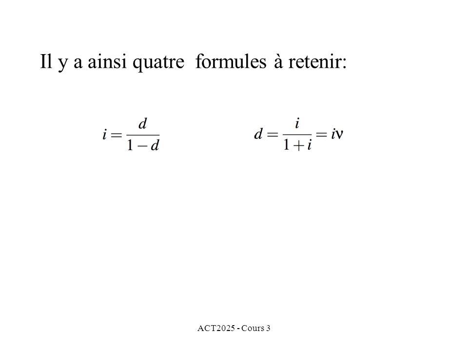 Il y a ainsi quatre formules à retenir: