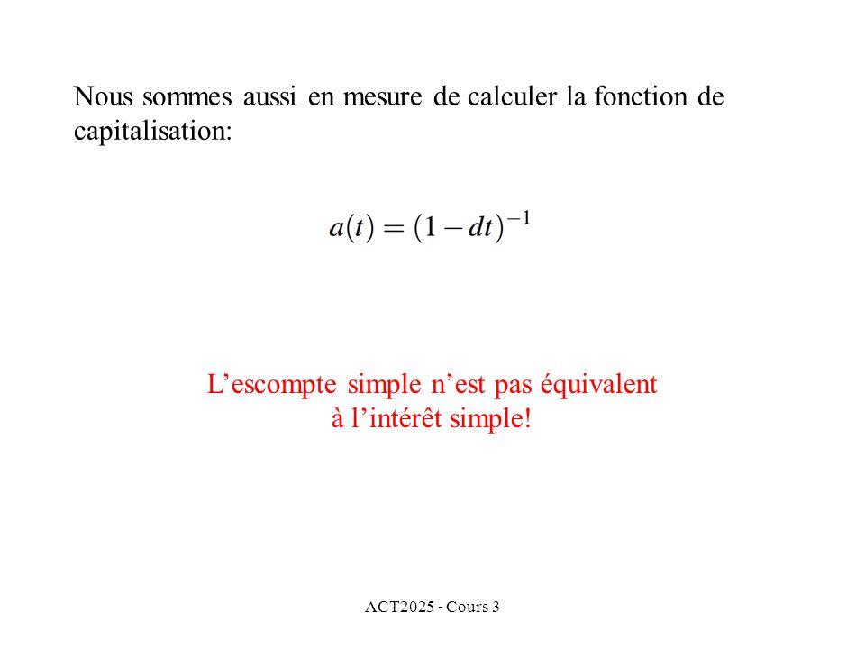 Nous sommes aussi en mesure de calculer la fonction de capitalisation: