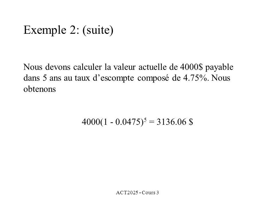 Exemple 2: (suite) Nous devons calculer la valeur actuelle de 4000$ payable dans 5 ans au taux d'escompte composé de 4.75%. Nous obtenons.