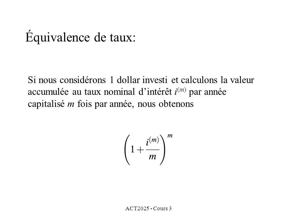 Équivalence de taux: